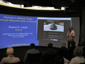 Dr. Robert Cargill lecturing in the UCLA visualization portal.