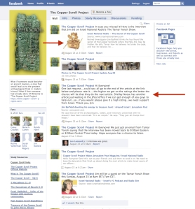 The Copper Scroll Project Facebook Page. Note the red arrows pointing to a picture of the Ark of the Covenant and to a paragraph encouraging supporters to navigate to the linked Jerusalem Post article and provide positive comments on it.