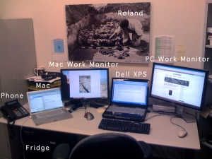 Dr. Robert Cargill's office workstation at UCLA's Center for Digital Humanities