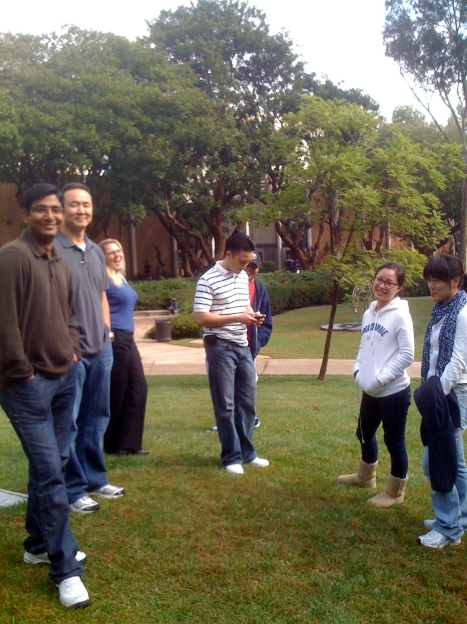 "Members of the UCLA Center for Digital Humanities rendezvous at the Murphy Sculpture Garden during the October 15, 2009 ""Great California Shakeout"" earthquake preparedness drill."