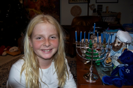 Talitha with her Hanukkah menorah on the first night.