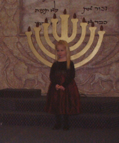 My daughter, Talitha, at the Temple Etz Chaim kindergarten Hanukkah celebration.