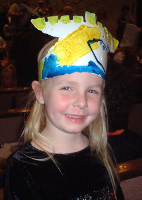 Talitha with her menorah hat at the Temple Adat Elohim Hanukkah celebration.