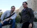 Robert Cargill and Shimon Gibson at the Wall of the Old City of Jerusalem.