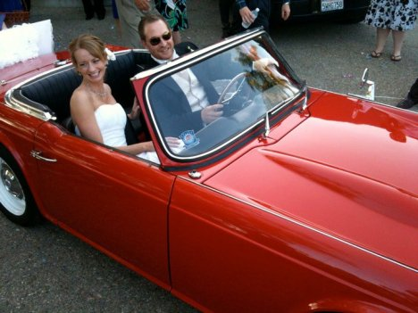 Dr. Robert Cargill and Roslyn Cargill (Bennett) on their wedding day in Dr. Bill Schniedewind's TR4