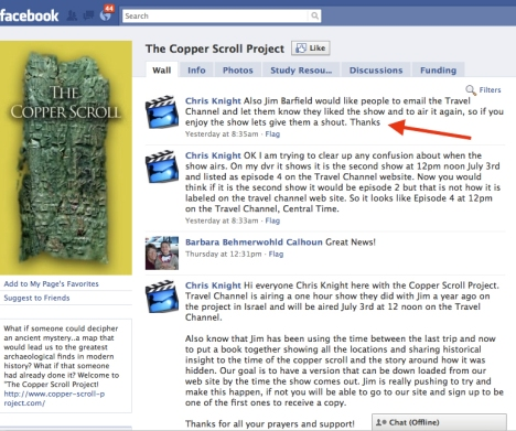 Copper Scroll Project of Facebook