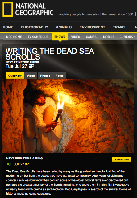 Writing the Dead Sea Scrolls on Nat Geo