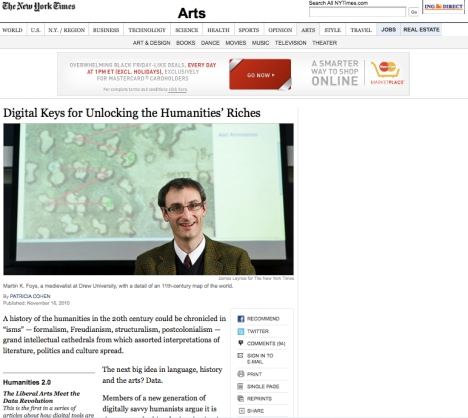 "Patricia Cohen's New York times article entitled, ""Digital Keys for Unlocking the Humanities' Riches"""