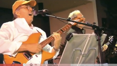 Pepperdine President Andrew K. Benton performs with his band MidLife Crisis at Pepperdine. Screen capture from YouTube (http://www.youtube.com/watch?v=5q_fyO8m0ug)
