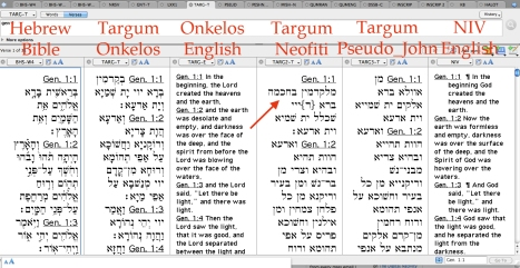A side-by-side comparison of the Hebrew Bible, Targums Onkelos, Neofiti, and Pseudo-Jonathan, and the NIV (English).