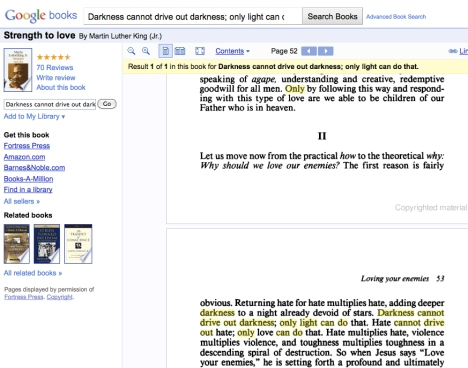 MLK 'Strength to Love' on Google Books
