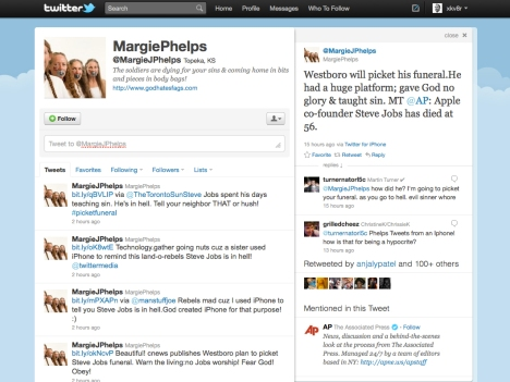 Margie Phelps' Steve Jobs Tweet