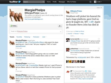 Margie Phelps' Steve Jobs Tweet