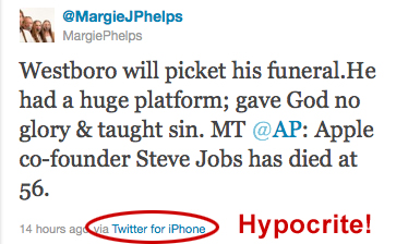Margie J. Phelps, daughter of Westboro Baptist Church pastor Fred Phelps, tweets that Westboro Baptist will picket the funeral of Apple Co-founder Steve Jobs because of his opposition to California's Prop 8, which sought to ban same-sex marriage. Ironically, and some would say hypocritically, she informed the public via Twitter from her iPhone!