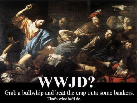 Jesus whipping bankers as depicted in John 2:15.
