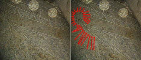 "A side-by-side comparison of the handle in the ""Fish in the margins"" Image 16 (available: http://thejesusdiscovery.org/press-kit-photos/?wppa-album=3&wppa-photo=16&wppa-occur=1) with the handle outlined by a series of red arrows. The handle at the top left of the vessel is clearly visible."