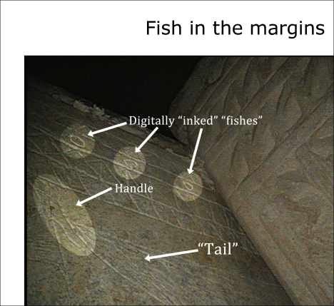 """Fish in the margins"" photo (available at: http://thejesusdiscovery.org/press-kit-photos/?wppa-album=3&wppa-occur=1&wppa-photo=16) with brightness and contrast raised for clarity and with the handle spotlighted. (Note: the Photoshop spotlight filers on the three so-called ""fishes"" along with the digitally added artificial ""ink"" were added by the authors or their artists.)"