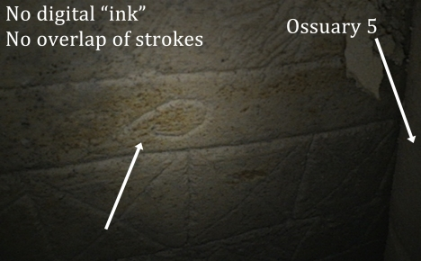 """Fish in the margins detail"" photo from thejesusdiscovery.org website with spotlight Photoshop filter added by authors. This image (nearest to Ossuary 5, which abuts the ""Jonah fish"" ossuary #6), is the same image as above, except the authors have NOT digitally 'inked' the image. Note that the engraved lines do NOT overlap to form a fish shape. (Image available: http://thejesusdiscovery.org/press-kit-photos/?wppa-album=3&wppa-occur=1&wppa-photo=17)"