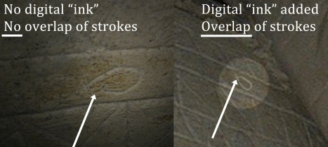 "The ""Fish in the margins detail"" image (left) and the ""Fish in the margins"" photo from thejesusdiscovery.org website demonstrate that the digital enhancements to the ""Fish in the margins"" image include artificial digitally ""inked"" lines colored to look like naturally engraved limestone lines that do not correspond to the engraved lines on the ossuary. The digital ""ink"" extends well beyond the engraved lines of the actual image, which do NOT overlap. This means that the image was digitally altered to generate the illusion of small ""fishes swimming"" around the edges of the ossuary, perhaps to support the illusion that the image just beneath them is a ""fish"" and not some sort of vessel."