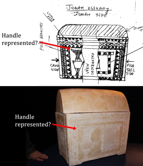 "Sketch of ""Jonah Ossuary"" (top; available: http://thejesusdiscovery.org/wp-content/uploads/wppa/44.png) and ""Museum Quality Replica"" (available at: http://thejesusdiscovery.org/wp-content/uploads/IMG_7422.jpg). A close look at each of these reproductions reveals that the artists actually attempted to represent the visual evidence of the handle. The sketch represents the top loop, and the replica represents the etched line beneath the top left of the image."