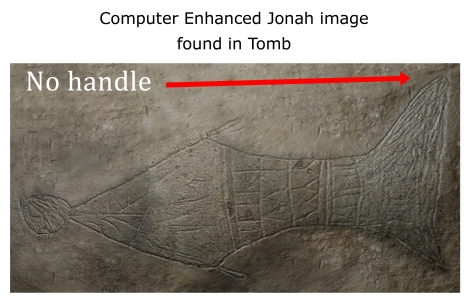 "Image 13 from the thejesusdiscovery.org website, captioned ""Computer Enhanced Jonah image found in Tomb."" Note the handle visible in the ""Fish in the margins"" Image 16 is not reproduced in this image, and is cropped where the handle would be."