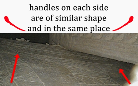 "Looking behind Ossuary 5 reveals that there is also an oval loop handle on the right side of the top of the inscribed vessel similar to the left, and also similar to the ""half fish"" image on a different panel of the same ossuary. (With thanks to Dr. James Tabor for this image.)"