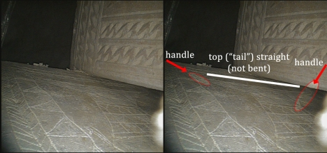 "Looking behind Ossuary 5 reveals that there is also an oval loop handle on the right side of the top of the inscribed vessel, just like on the ""half fish"" image on a different panel of the same ossuary. Note also that the top of the vessel is straight, not bent. (With thanks to Dr. James Tabor for this image.)"