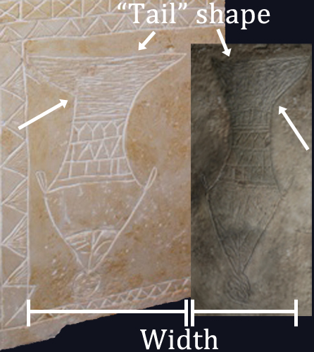 "A side-by-side comparison of the ""museum quality replica"" (left, source: http://thejesusdiscovery.org/intro/img_7422/) and the digitally altered photo from Dr. Tabor's 'Bible and Interpretation' article. Both are artist's renditions of the image on the ossuary. Note the difference in shape and scale even in these artists' renditions. Note also that the digital reproduction from the revised 'Bible and Interpretation' article has now been flipped horizontally."