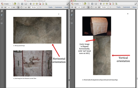 "Page 42 of the article by James Tabor entitled, ""A Preliminary Report of an Exploration of a Sealed 1st Century Tomb in East Talpiot, Jerusalem"" published at Bible and Interpretation. The original article (left) was published on Feb. 28, 2012. The revised article (right) appeared on the site on March 2, 2012. Note that the orientation of the image in Fig. 21 (left) is rotated away (CCW) from its in situ orientation, better resembling the natural disposition of a fish. However, the same image on the right has been rectified to its proper orientation (although it has been flipped horizontally). Note also the the revised caption on the revised article (right) still reads, ""Museum replica showing placement of image on front panel and closeup of image,"" despite the fact that the image in question is still not a 'closeup' of the replica, and still does not indicate that the photo has been heavily Photoshopped."