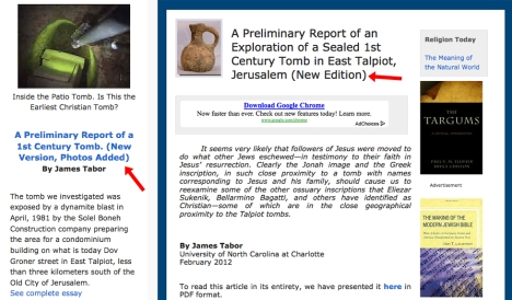 Editor's comment (see red arrows pointing to text in parentheses) noting that a new version of James Tabor's Bible and Interpretation article, originally published Feb 28, 2012, had been revised.