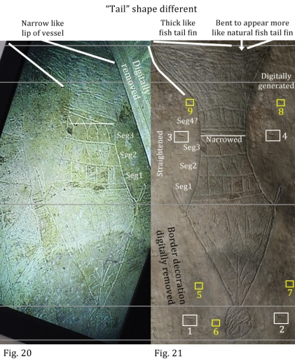 """A side-by-side look at differences between Figs. 20 (left) and 21 (pgs. 41-42) from the original Bible and Interpretation article entitled, """"A Preliminary Report of an Exploration of a Sealed 1st Century Tomb in East Talpiot, Jerusalem,"""" by Dr. James Tabor published on Feb 28, 2012."""