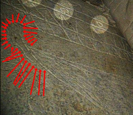 "The image inscribed on the front panel of Ossuary 6 from the so-called ""Patio tomb"" in Talpiyot, Jerusalem. Note the handle on the left side of the top of the vessel. Note also the digitally altered 'fish in the margins', where someone placed ink of the same color as the engraved areas into the image."