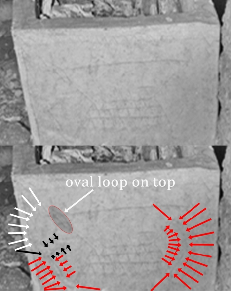 "An over/under comparison of an image of an inscribed on an ossuary from the so-called ""Patio tomb"" in Talpiyot, Jerusalem. Note the handles on the side of what Tabor and Jacobovici call a ""half fish."""