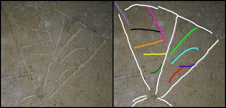 "Side-by-side images of the bottom of the image inscribed on Ossuary 6 from the so-called ""Patio Tomb"" in Talpiot, Jerusalem. (Original image here: http://thejesusdiscovery.org/press-kit-photos/?wppa-album=3&wppa-photo=15&wppa-occur=1)"