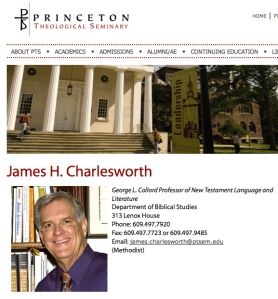 A screen capture of Dr. James H. Charlesworth's Princeton Theological Seminary faculty page.