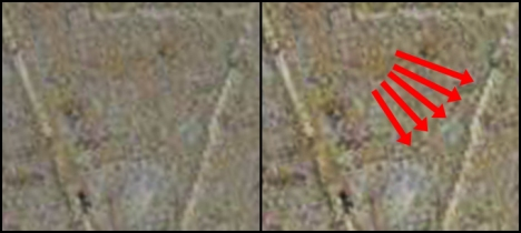 Side-by-side illustration of a faint line (green line above) that has been missed or ignored. (Original image here: http://thejesusdiscovery.org/press-kit-photos/?wppa-album=3&wppa-photo=15&wppa-occur=1)