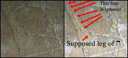 Side-by-side of an ignored line to the left of the left leg of the supposed 'heh'. (Original image: http://thejesusdiscovery.org/press-kit-photos/?wppa-album=3&wppa-photo=15&wppa-occur=1)