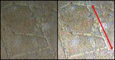 Side-by-side image of a supposed 'heh.' The top of the supposed letter is far too long in relation to the lines that would comprise the other supposed letters. (Original image: http://thejesusdiscovery.org/press-kit-photos/?wppa-album=3&wppa-photo=15&wppa-occur=1)