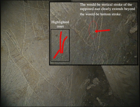 "An image from the thejesusdiscovery.org website showing the bottom of the image inscribed on the face of Ossuary 6 from the so-called ""Patio Tomb"" in Talpiot, Jerusalem. Note that the lines which Dr. Tabor explicitly (and Dr. Charlesworth reportedly) claim to form the Hebrew letter nun are clearly two separate lines, with the vertical down stroke extending well beyond the angled bottom stroke. The traced strokes are highlighted in an inset. (Original image available here: http://thejesusdiscovery.org/wp-content/uploads/wppa/50.jpg)"