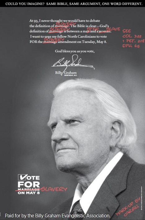 VOTE FOR SLAVERY! (A marked-up Billy Graham marriage ad).