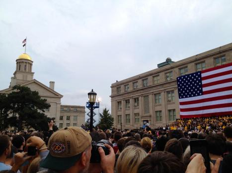 President Barack Obama speaks at the University of Iowa on September 7, 2012