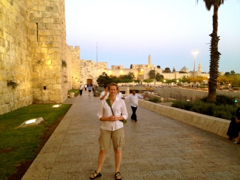 Roslyn outside of the Jaffa Gate in Jerusalem