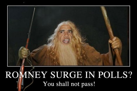 Obama as Gandalf with bayonet: You shall not pass!