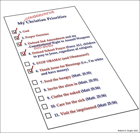 My Conservative Christian Priorities (by Robert R. Cargill, 2012)