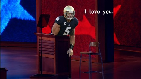 Manti Te'o with Clint Eastwood's Empty Chair