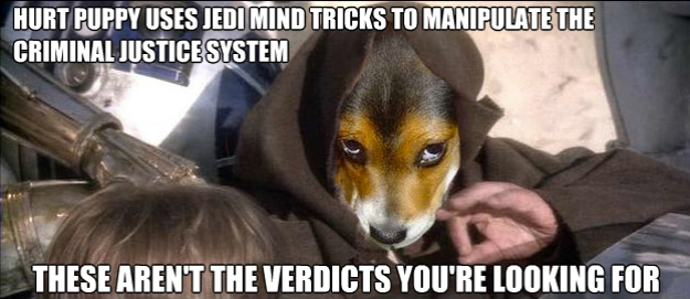 "Hurt Puppy uses Jedi mind tricks to manipulate the criminal justice system. ""These aren't the verdicts you're looking for."""