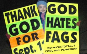 Westboro Baptist Church will picket Malibu, CA, but is NOT picketing Christian Pepperdine University, nor the Church of Christ that meets on its campus.