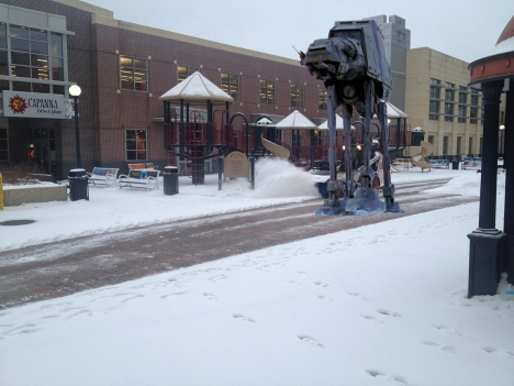 AT-AT snow walker on the Ped Mall in Iowa City, March 18, 2013.