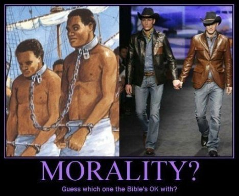 Morality: Slavery vs. Homosexuality: Guess which one the Bible's OK with?