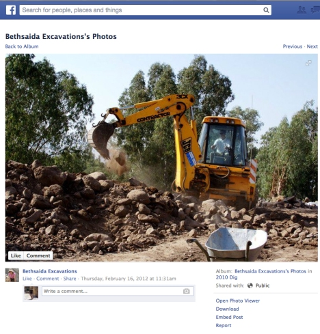 JCB mechanical Excavator featured on the Bethsaida Excavations Facebook Page